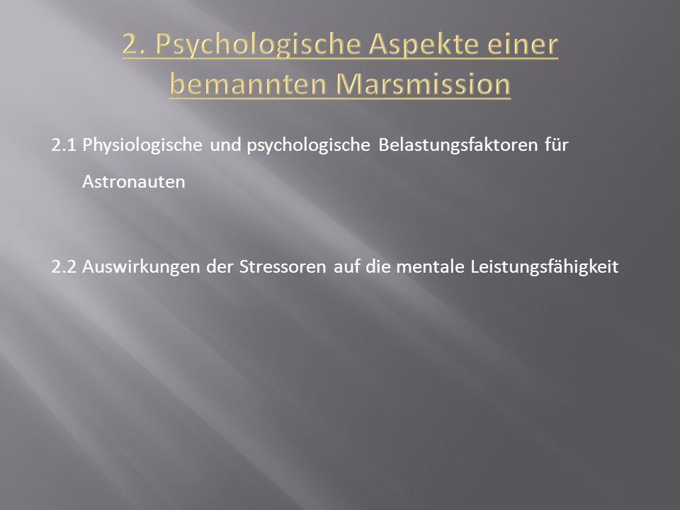 2.1 Physiologische und psychologische Belastungsfaktoren für Astronauten 2.2 Auswirkungen der Stressoren auf die mentale Leistungsfähigkeit