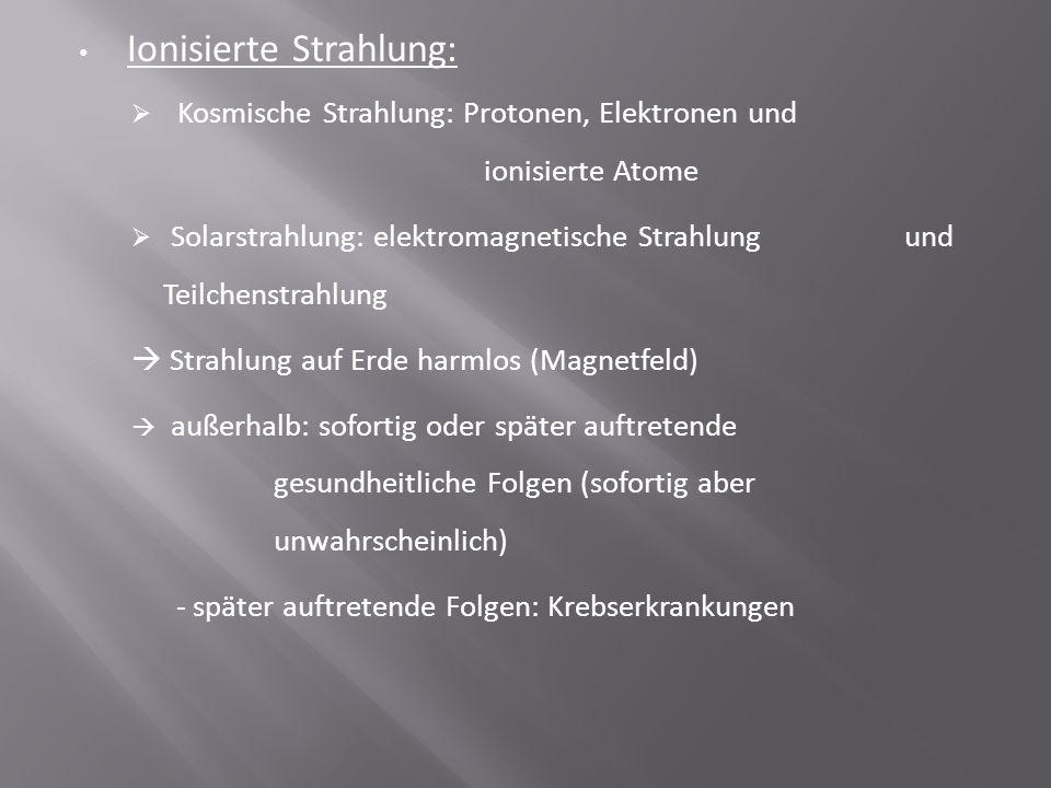 Ionisierte Strahlung:  Kosmische Strahlung: Protonen, Elektronen und ionisierte Atome  Solarstrahlung: elektromagnetische Strahlung und Teilchenstra