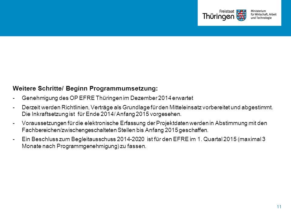 Weitere Schritte/ Beginn Programmumsetzung: -Genehmigung des OP EFRE Thüringen im Dezember 2014 erwartet -Derzeit werden Richtlinien, Verträge als Gru