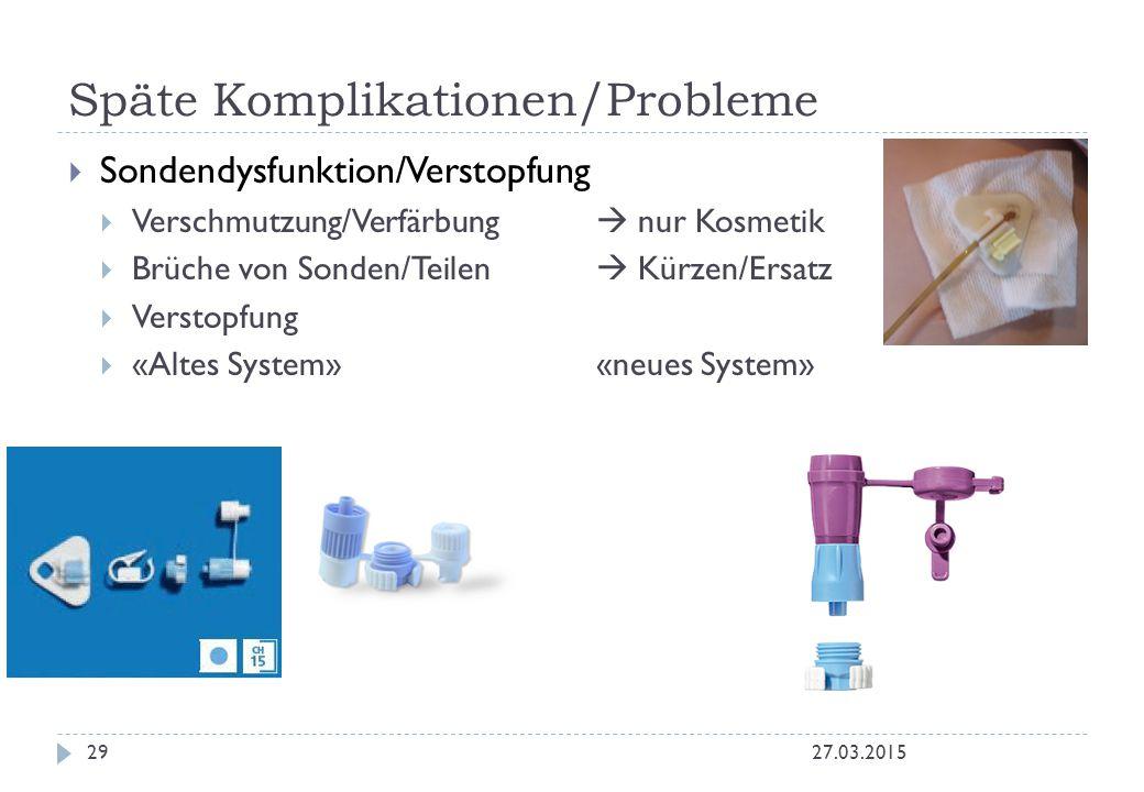 Späte Komplikationen/Probleme 27.03.201529  Sondendysfunktion/Verstopfung  Verschmutzung/Verfärbung  nur Kosmetik  Brüche von Sonden/Teilen  Kürz