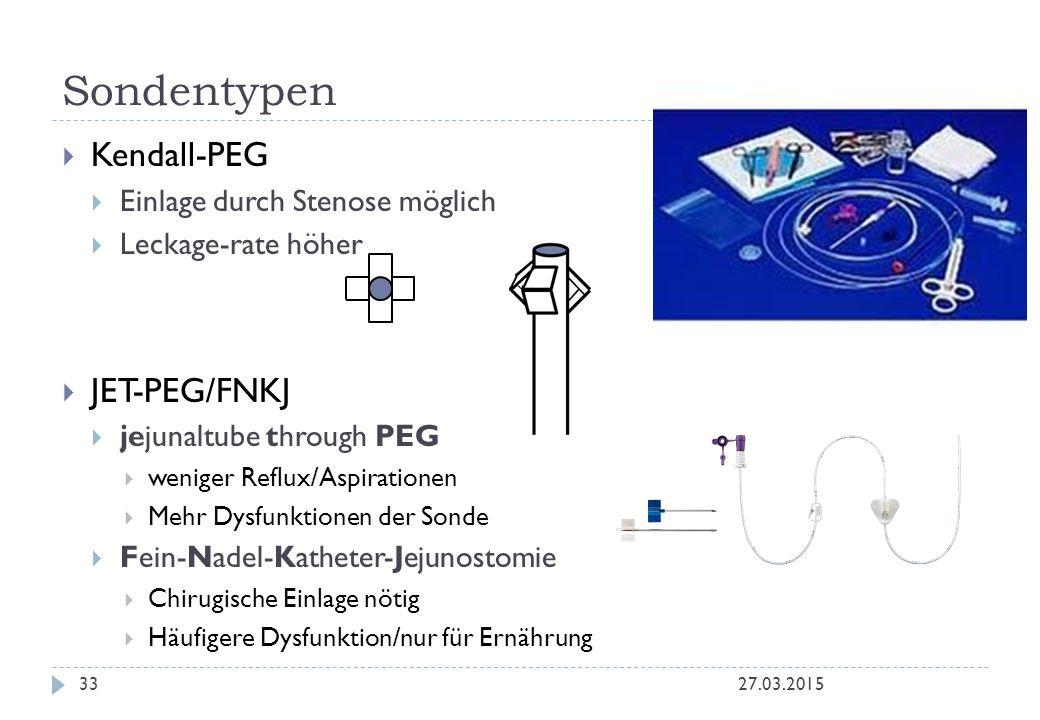  Kendall-PEG  Einlage durch Stenose möglich  Leckage-rate höher  JET-PEG/FNKJ  jejunaltube through PEG  weniger Reflux/Aspirationen  Mehr Dysfu