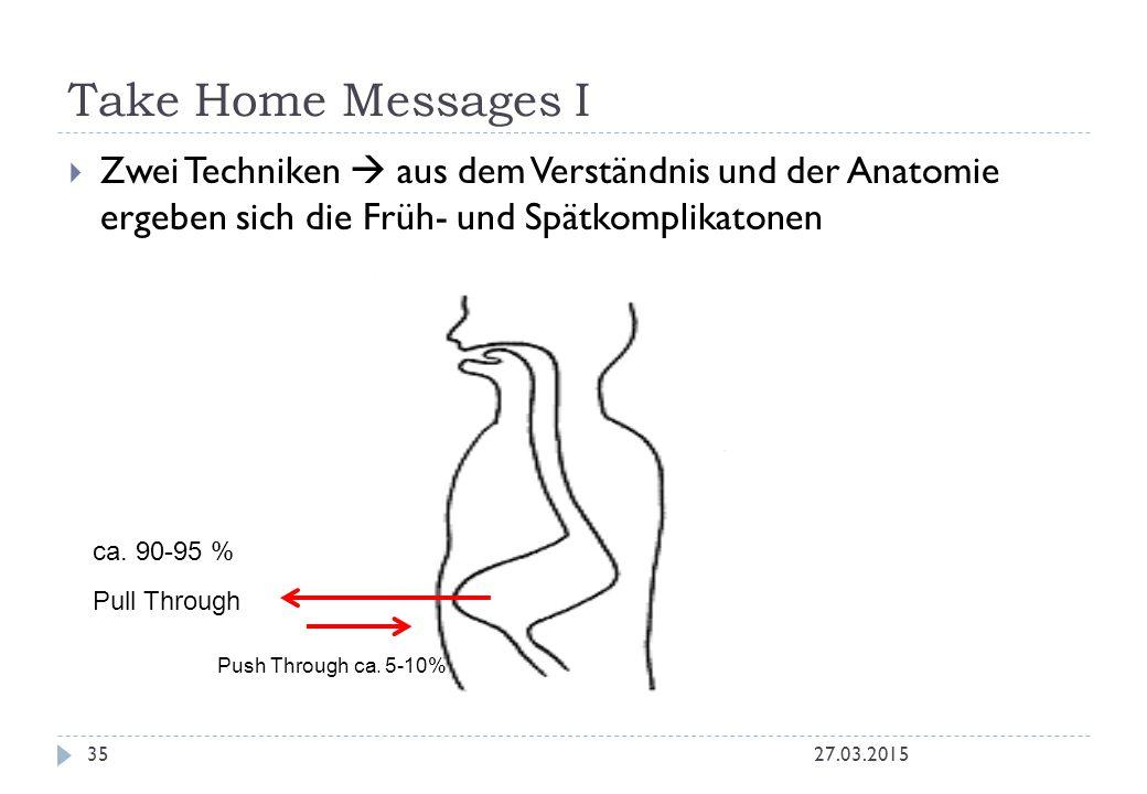 Take Home Messages I 27.03.201535  Zwei Techniken  aus dem Verständnis und der Anatomie ergeben sich die Früh- und Spätkomplikatonen Push Through ca