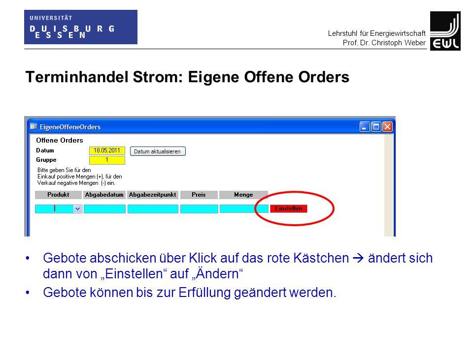 Lehrstuhl für Energiewirtschaft Prof. Dr. Christoph Weber Terminhandel Strom: Eigene Offene Orders Gebote abschicken über Klick auf das rote Kästchen
