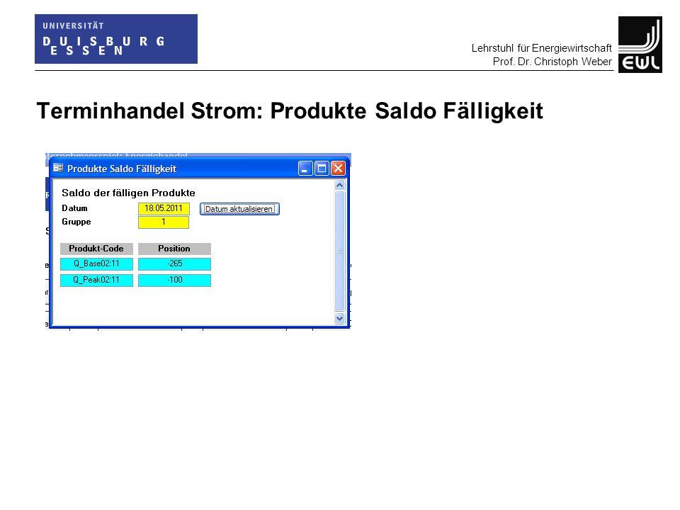 Lehrstuhl für Energiewirtschaft Prof. Dr. Christoph Weber Terminhandel Strom: Produkte Saldo Fälligkeit