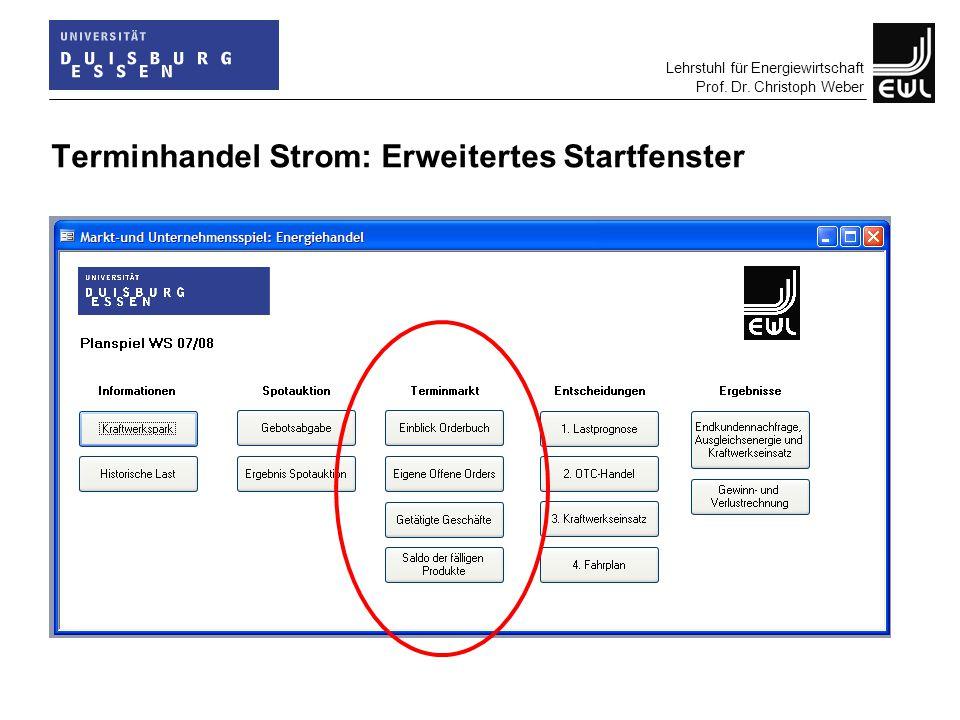 Lehrstuhl für Energiewirtschaft Prof. Dr. Christoph Weber Terminhandel Strom: Erweitertes Startfenster
