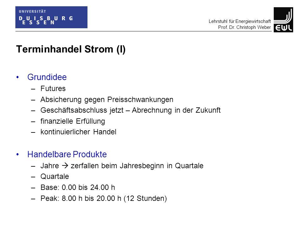 Lehrstuhl für Energiewirtschaft Prof. Dr. Christoph Weber Terminhandel Strom (I) Grundidee –Futures –Absicherung gegen Preisschwankungen –Geschäftsabs