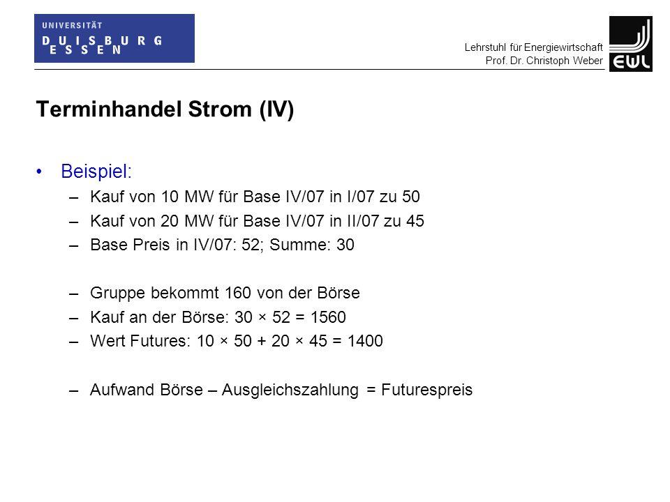 Lehrstuhl für Energiewirtschaft Prof. Dr. Christoph Weber Terminhandel Strom (IV) Beispiel: –Kauf von 10 MW für Base IV/07 in I/07 zu 50 –Kauf von 20