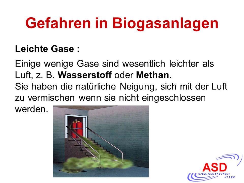 Gefahren in Biogasanlagen Leichte Gase : Einige wenige Gase sind wesentlich leichter als Luft, z. B. Wasserstoff oder Methan. Sie haben die natürliche