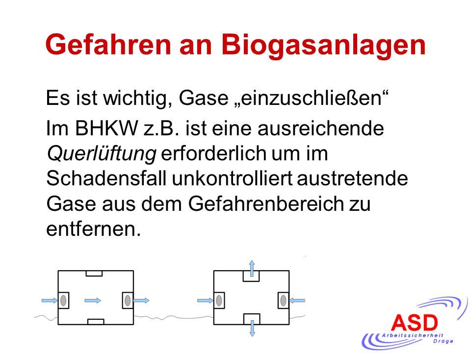 """Gefahren an Biogasanlagen Es ist wichtig, Gase """"einzuschließen"""" Im BHKW z.B. ist eine ausreichende Querlüftung erforderlich um im Schadensfall unkontr"""