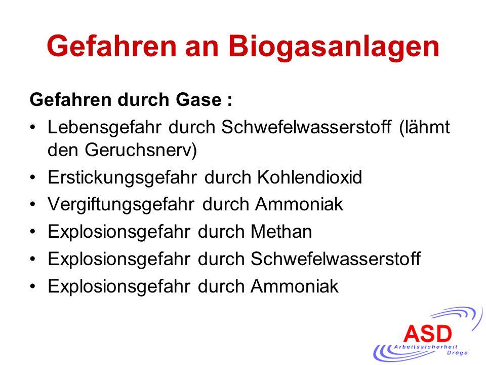 Gefahren an Biogasanlagen Gefahren durch Gase : Lebensgefahr durch Schwefelwasserstoff (lähmt den Geruchsnerv) Erstickungsgefahr durch Kohlendioxid Ve