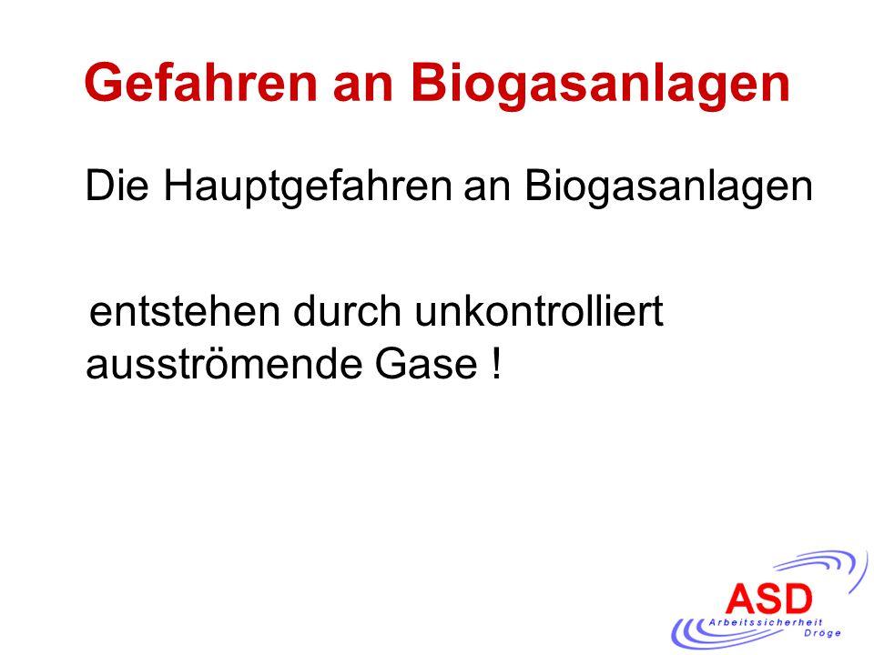 Gefahren an Biogasanlagen Die Hauptgefahren an Biogasanlagen entstehen durch unkontrolliert ausströmende Gase !