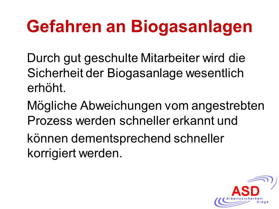 Gefahren an Biogasanlagen Durch gut geschulte Mitarbeiter wird die Sicherheit der Biogasanlage wesentlich erhöht. Mögliche Abweichungen vom angestrebt