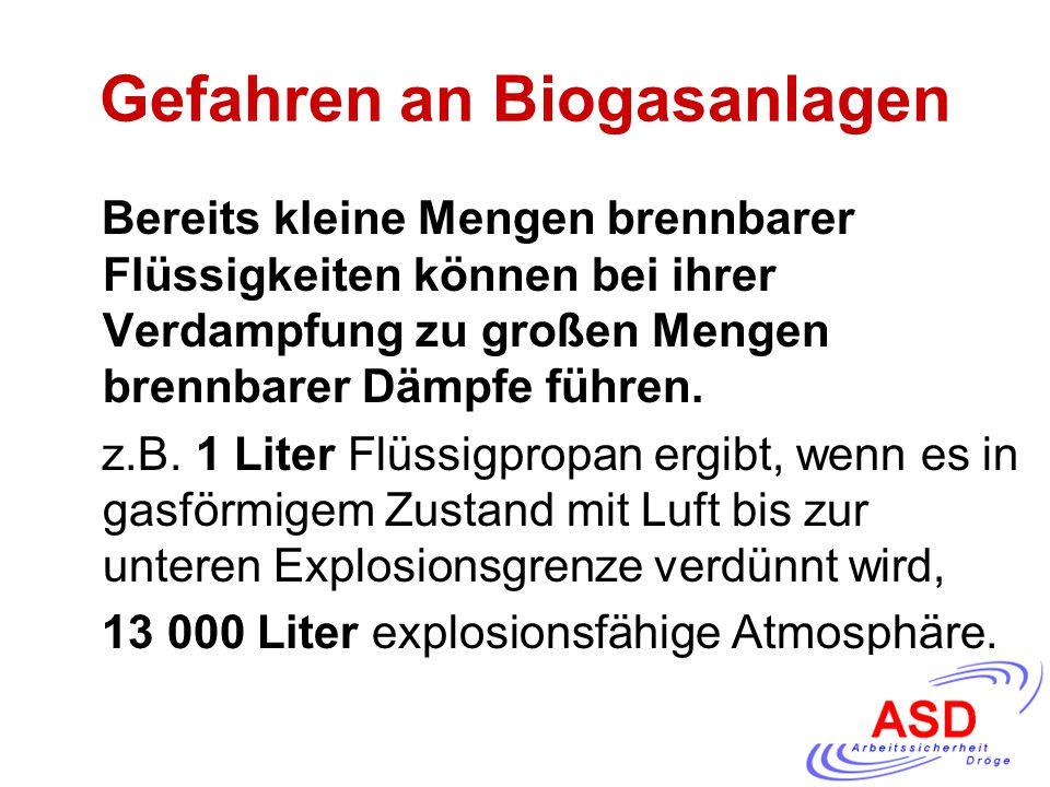 Gefahren an Biogasanlagen Bereits kleine Mengen brennbarer Flüssigkeiten können bei ihrer Verdampfung zu großen Mengen brennbarer Dämpfe führen. z.B.