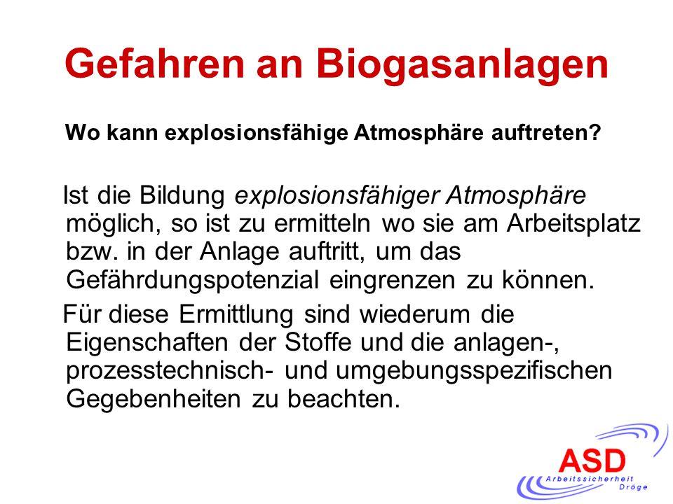 Gefahren an Biogasanlagen Wo kann explosionsfähige Atmosphäre auftreten? Ist die Bildung explosionsfähiger Atmosphäre möglich, so ist zu ermitteln wo
