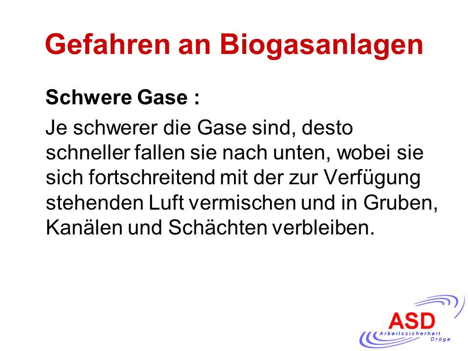 Gefahren an Biogasanlagen Schwere Gase : Je schwerer die Gase sind, desto schneller fallen sie nach unten, wobei sie sich fortschreitend mit der zur V