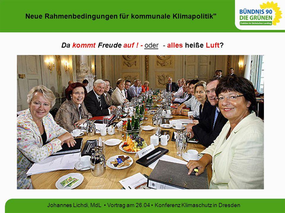 Neue Rahmenbedingungen für kommunale Klimapolitik Johannes Lichdi, MdL Vortrag am 26.04 Konferenz Klimaschutz in Dresden Klimaschutzbericht 2005 Quelle: Sächsisches Staatsministerium für Umwelt und Landwirtschaft Dresden, 2005