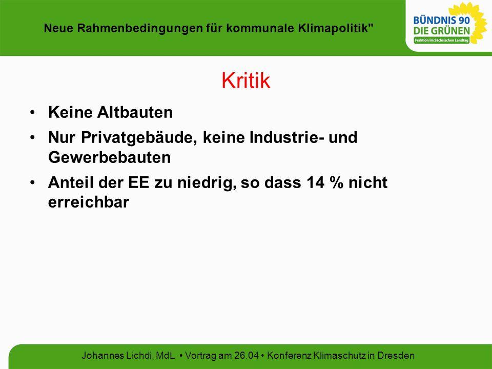 Neue Rahmenbedingungen für kommunale Klimapolitik Johannes Lichdi, MdL Vortrag am 26.04 Konferenz Klimaschutz in Dresden CO 2 -Gebäudesanierungsprogramm und Energieeinsparverordnung (EnEV) Verstetigung über 2009 hinaus, energetische Optimierung von Stadtstrukturen, kommunale Energie-Bau-Wettbewerbe Absenkung Endenergieverbrauchs bei Neubauten um 30% Verschärfung der energetischen Anforderungen für Nachtspeicherheizungen um durchschnittlich 30 % (Novelle 2008/2009)