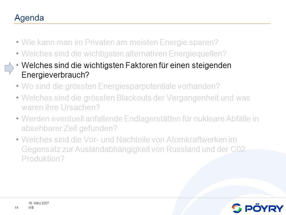 18. März 2007 WB14 Agenda Wie kann man im Privaten am meisten Energie sparen? Welches sind die wichtigsten alternativen Energiequellen? Welches sind d