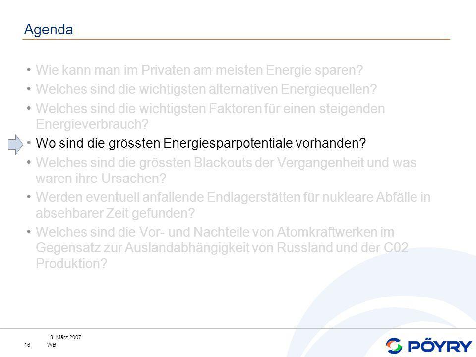 18. März 2007 WB16 Agenda Wie kann man im Privaten am meisten Energie sparen? Welches sind die wichtigsten alternativen Energiequellen? Welches sind d