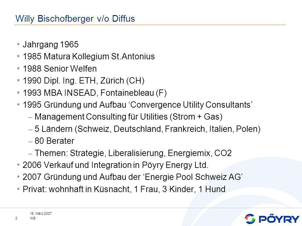 18. März 2007 WB2 Willy Bischofberger v/o Diffus Jahrgang 1965 1985 Matura Kollegium St.Antonius 1988 Senior Welfen 1990 Dipl. Ing. ETH, Zürich (CH) 1