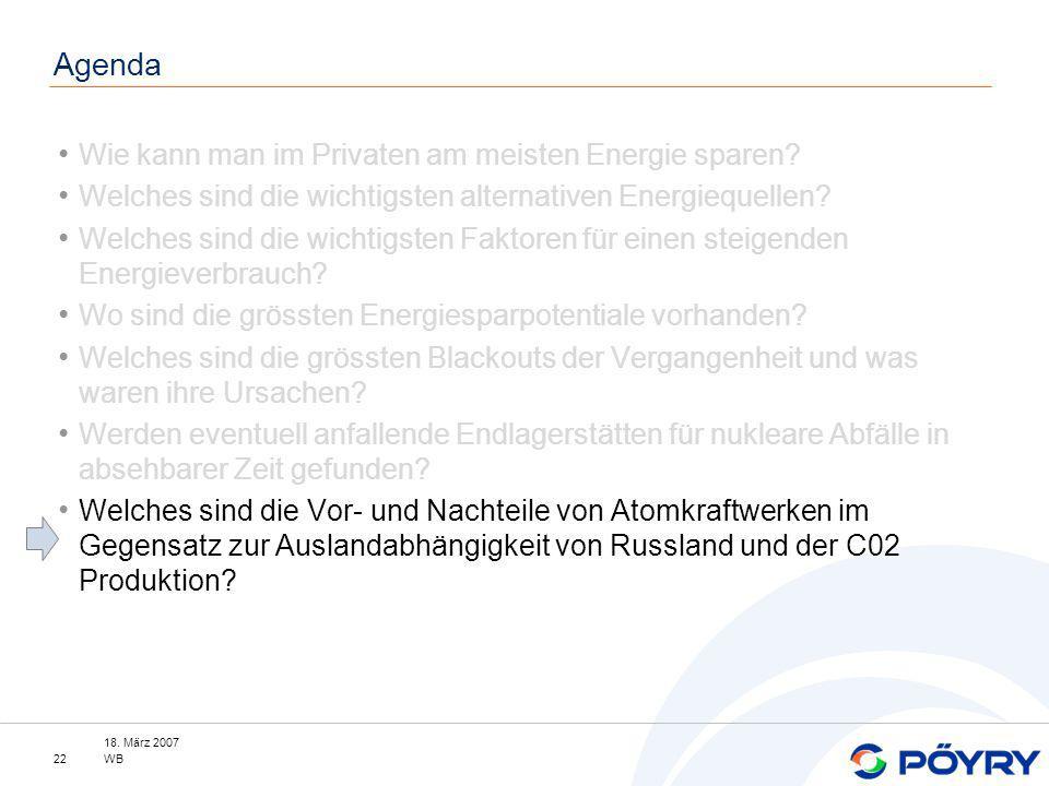 18. März 2007 WB22 Agenda Wie kann man im Privaten am meisten Energie sparen? Welches sind die wichtigsten alternativen Energiequellen? Welches sind d