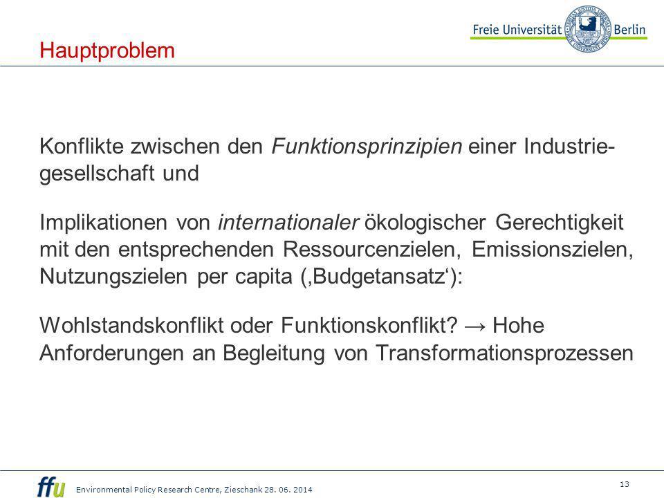 13 Environmental Policy Research Centre, Zieschank 28. 06. 2014 Hauptproblem Konflikte zwischen den Funktionsprinzipien einer Industrie- gesellschaft