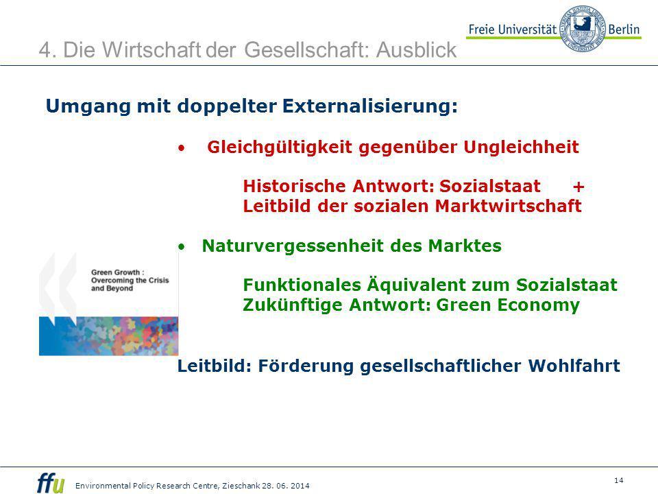 14 Environmental Policy Research Centre, Zieschank 28. 06. 2014 4. Die Wirtschaft der Gesellschaft: Ausblick Umgang mit doppelter Externalisierung: Gl