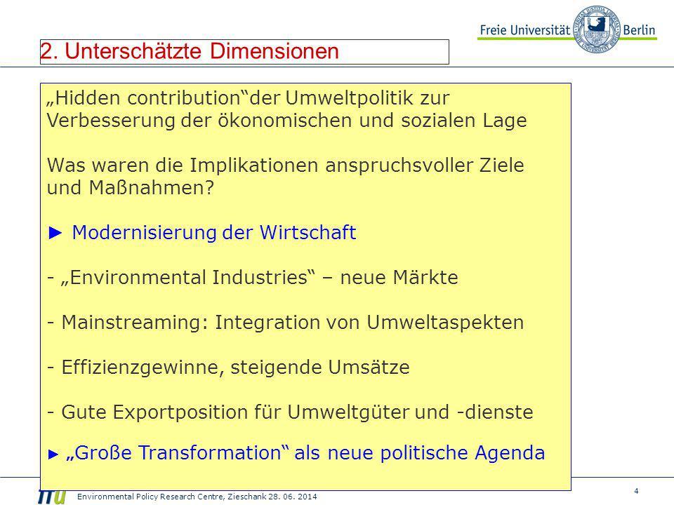 "4 Environmental Policy Research Centre, Zieschank 28. 06. 2014 2. Unterschätzte Dimensionen ""Hidden contribution""der Umweltpolitik zur Verbesserung de"