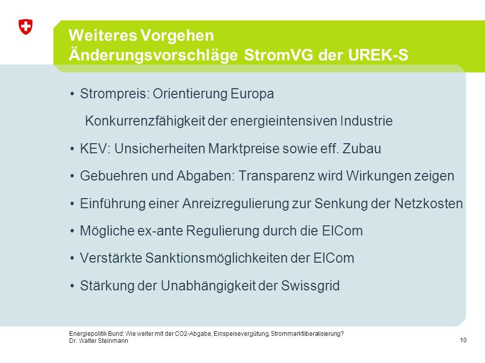 10 Energiepolitik Bund: Wie weiter mit der CO2-Abgabe, Einspeisevergütung, Strommarktliberalisierung? Dr. Walter Steinmann Weiteres Vorgehen Änderungs