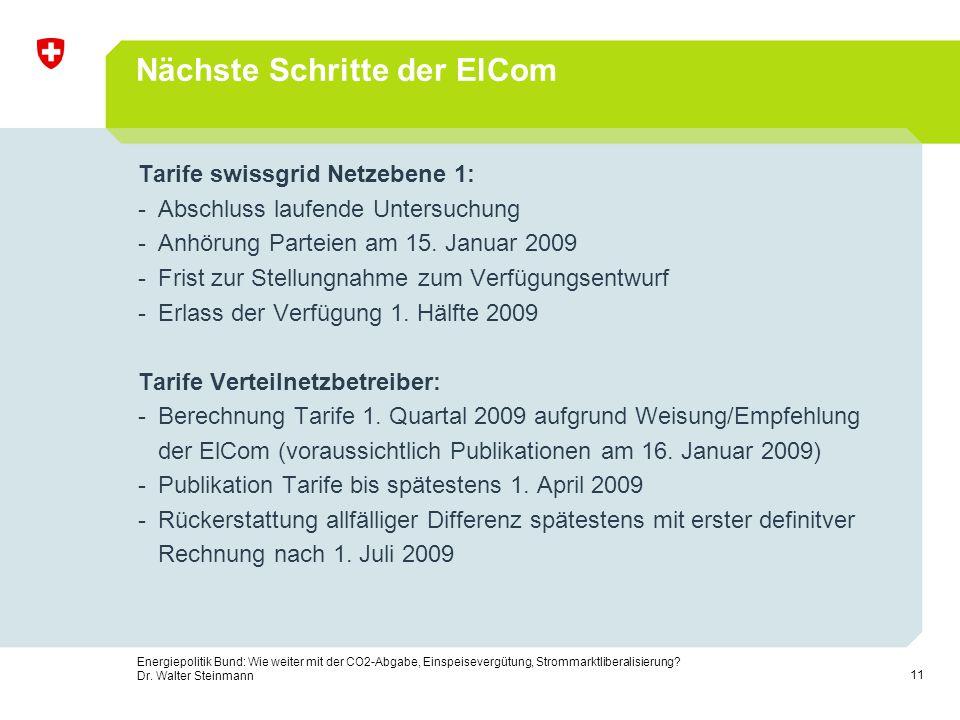 11 Energiepolitik Bund: Wie weiter mit der CO2-Abgabe, Einspeisevergütung, Strommarktliberalisierung? Dr. Walter Steinmann Nächste Schritte der ElCom