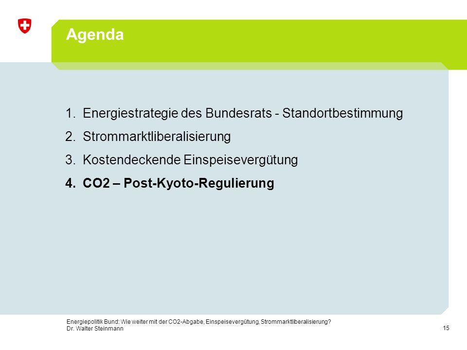15 Energiepolitik Bund: Wie weiter mit der CO2-Abgabe, Einspeisevergütung, Strommarktliberalisierung? Dr. Walter Steinmann Agenda 1.Energiestrategie d
