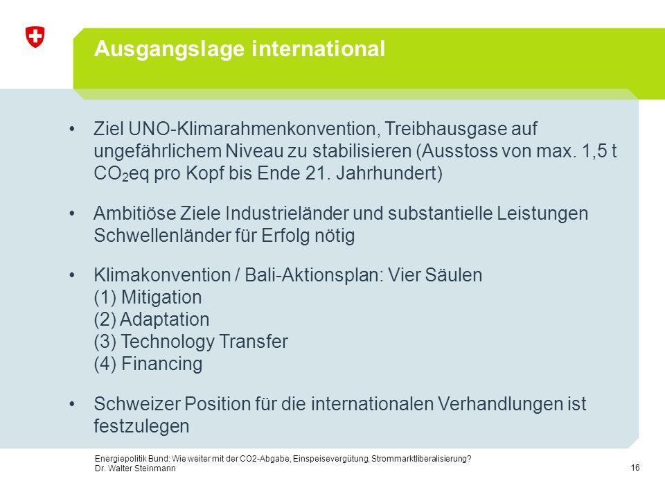 16 Energiepolitik Bund: Wie weiter mit der CO2-Abgabe, Einspeisevergütung, Strommarktliberalisierung? Dr. Walter Steinmann Ausgangslage international