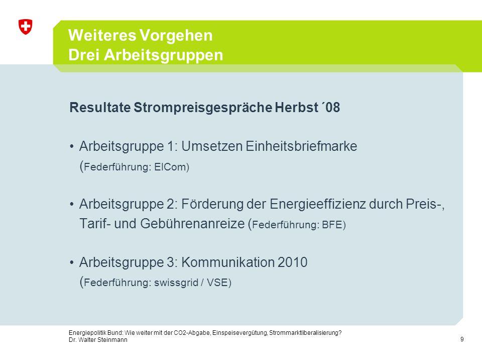 20 Energiepolitik Bund: Wie weiter mit der CO2-Abgabe, Einspeisevergütung, Strommarktliberalisierung.