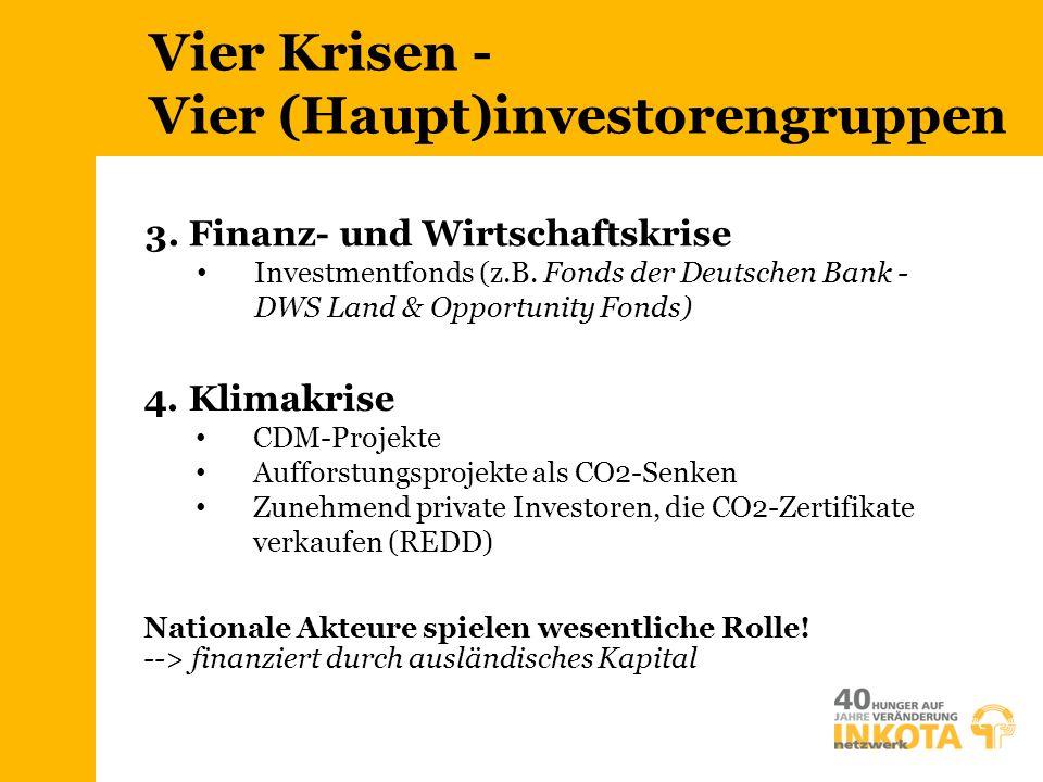 Vier Krisen - Vier (Haupt)investorengruppen 4. Klimakrise CDM-Projekte Aufforstungsprojekte als CO2-Senken Zunehmend private Investoren, die CO2-Zerti