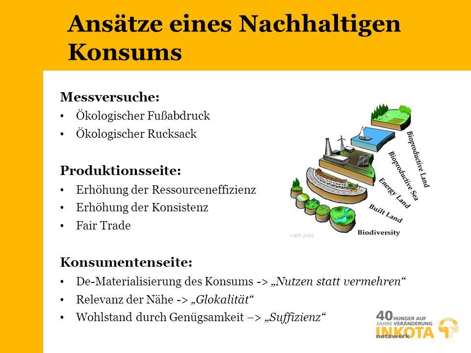 Ansätze eines Nachhaltigen Konsums Messversuche: Ökologischer Fußabdruck Ökologischer Rucksack Produktionsseite: Erhöhung der Ressourceneffizienz Erhö