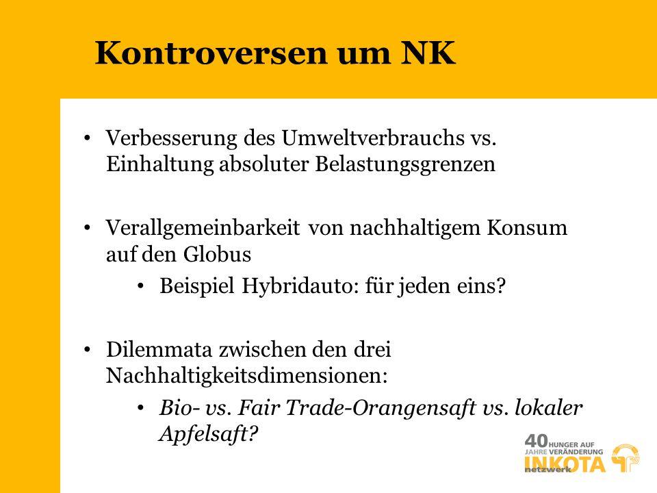 Kontroversen um NK Verbesserung des Umweltverbrauchs vs. Einhaltung absoluter Belastungsgrenzen Verallgemeinbarkeit von nachhaltigem Konsum auf den Gl
