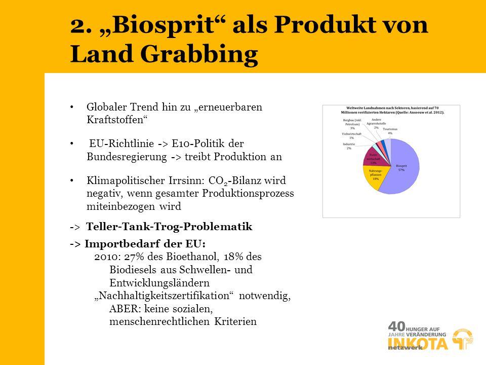 """2. """"Biosprit"""" als Produkt von Land Grabbing Globaler Trend hin zu """"erneuerbaren Kraftstoffen"""" EU-Richtlinie -> E10-Politik der Bundesregierung -> trei"""