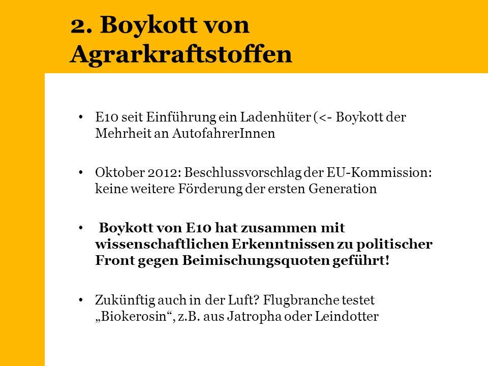 2. Boykott von Agrarkraftstoffen E10 seit Einführung ein Ladenhüter (<- Boykott der Mehrheit an AutofahrerInnen Oktober 2012: Beschlussvorschlag der E