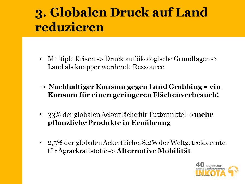 3. Globalen Druck auf Land reduzieren Multiple Krisen -> Druck auf ökologische Grundlagen -> Land als knapper werdende Ressource -> Nachhaltiger Konsu