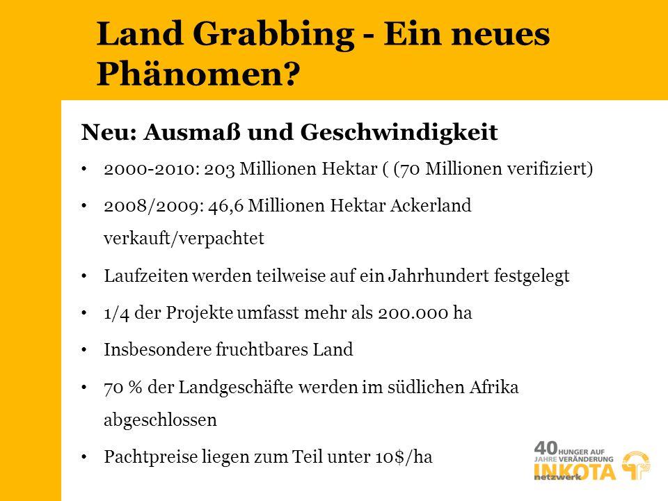 Land Grabbing - Ein neues Phänomen? Neu: Ausmaß und Geschwindigkeit 2000-2010: 203 Millionen Hektar ( (70 Millionen verifiziert) 2008/2009: 46,6 Milli