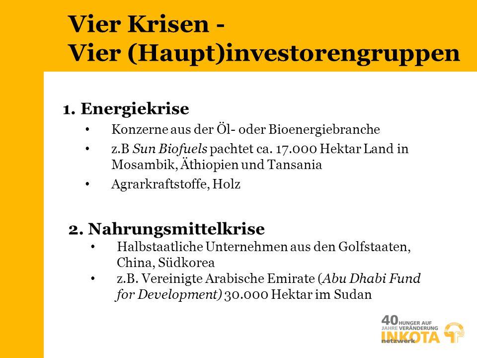 Vier Krisen - Vier (Haupt)investorengruppen 2. Nahrungsmittelkrise Halbstaatliche Unternehmen aus den Golfstaaten, China, Südkorea z.B. Vereinigte Ara