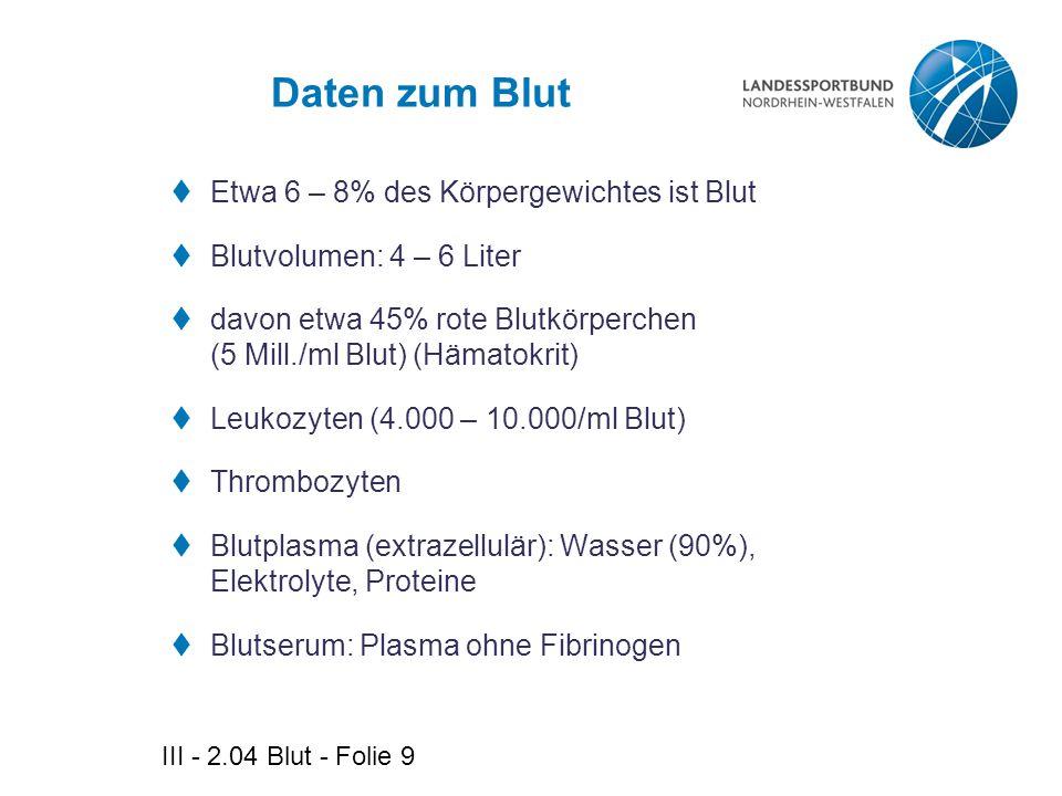 III - 2.04 Blut - Folie 9 Daten zum Blut  Etwa 6 – 8% des Körpergewichtes ist Blut  Blutvolumen: 4 – 6 Liter  davon etwa 45% rote Blutkörperchen (5