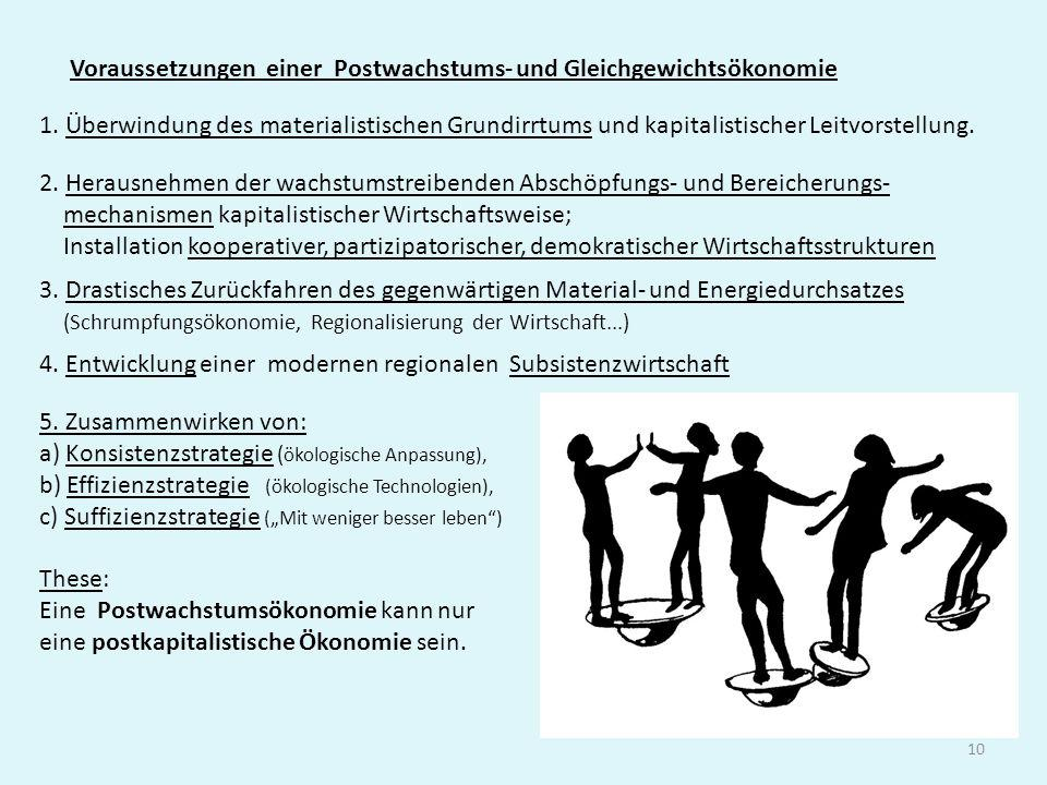 10 Voraussetzungen einer Postwachstums- und Gleichgewichtsökonomie 5. Zusammenwirken von: a) Konsistenzstrategie ( ökologische Anpassung), b) Effizien