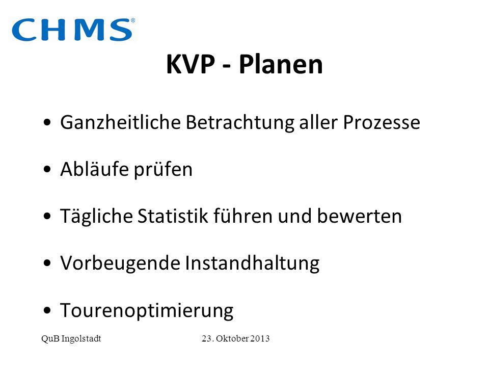 KVP - Planen Ganzheitliche Betrachtung aller Prozesse Abläufe prüfen Tägliche Statistik führen und bewerten Vorbeugende Instandhaltung Tourenoptimieru