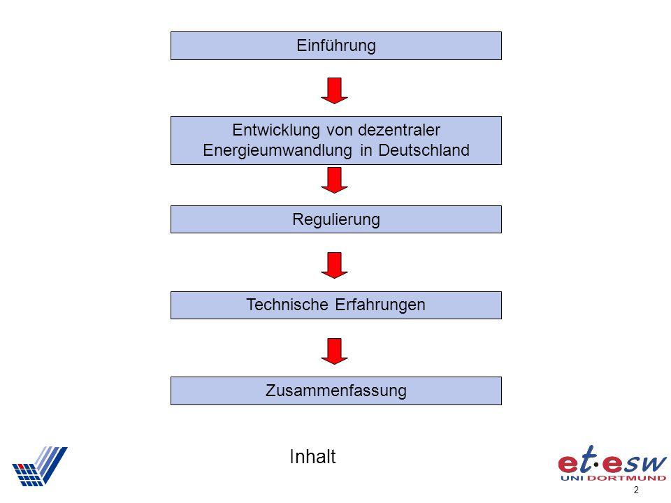 2 Inhalt Einführung Entwicklung von dezentraler Energieumwandlung in Deutschland Regulierung Technische Erfahrungen Zusammenfassung
