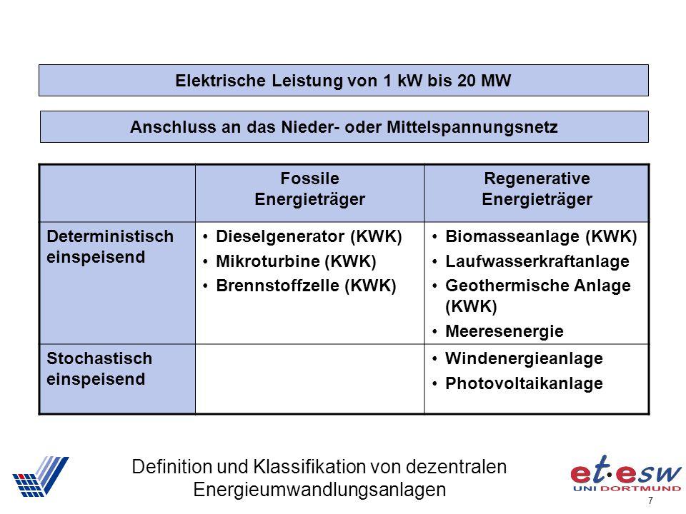 7 Definition und Klassifikation von dezentralen Energieumwandlungsanlagen Elektrische Leistung von 1 kW bis 20 MW Anschluss an das Nieder- oder Mittel