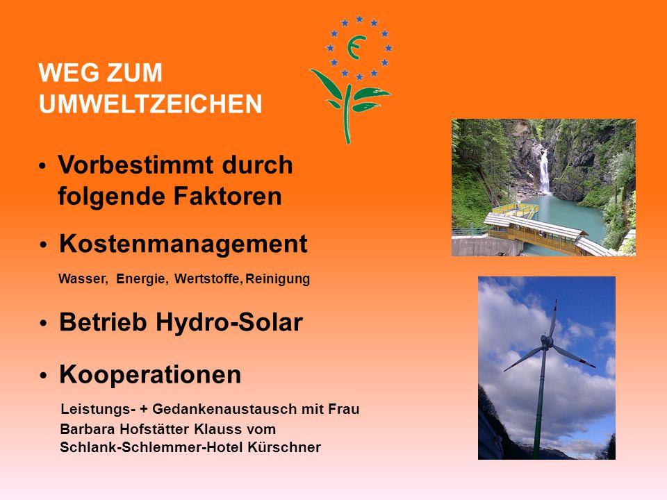 WEG ZUM UMWELTZEICHEN Vorbestimmt durch folgende Faktoren Kostenmanagement Wasser, Energie, Wertstoffe, Reinigung Betrieb Hydro-Solar Kooperationen Le