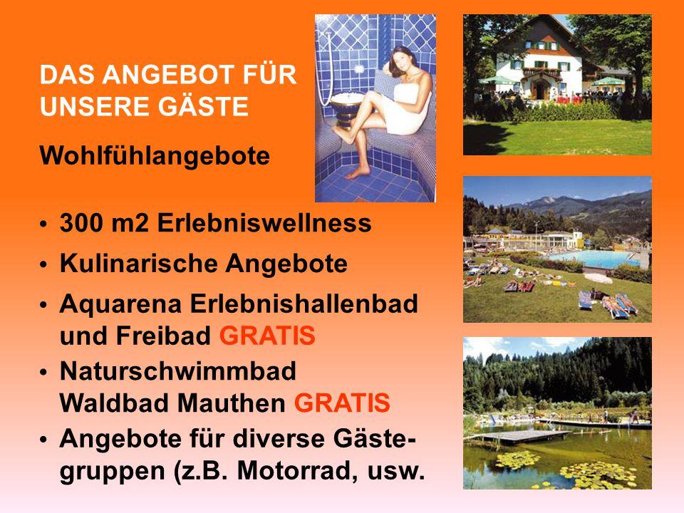 DAS ANGEBOT FÜR UNSERE GÄSTE Wohlfühlangebote 300 m2 Erlebniswellness Kulinarische Angebote Naturschwimmbad Waldbad Mauthen GRATIS Angebote für diverse Gäste- gruppen (z.B.