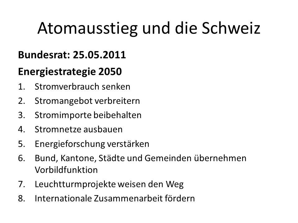 Atomausstieg und die Schweiz Bundesrat: 25.05.2011 Energiestrategie 2050 1.Stromverbrauch senken 2.Stromangebot verbreitern 3.Stromimporte beibehalten