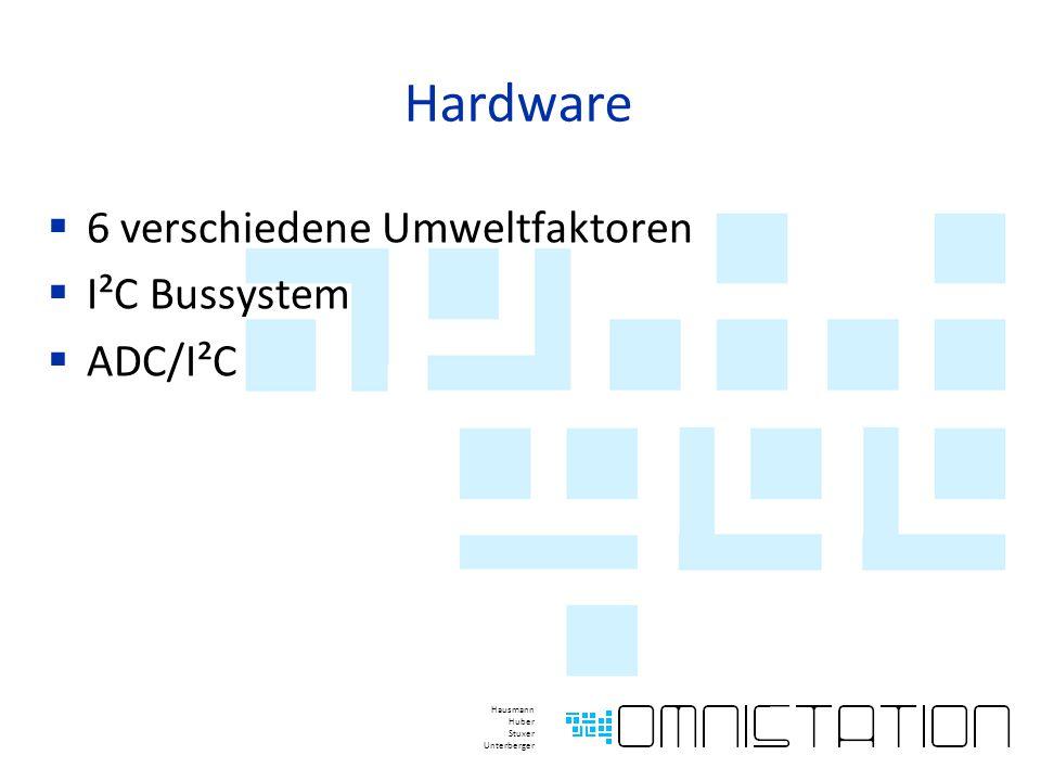 Hardware  6 verschiedene Umweltfaktoren  I²C Bussystem  ADC/I²C Hausmann Huber Stuxer Unterberger